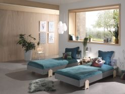Vipack Modulo Art. Set best. aus 2 Einzelbetten/Stapelbetten je 90 x 200 cm Liegefläche, grau lackiert, Fuß Pfeil-Optik Kiefer natur lackiert