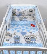 Babylux 'Eule Blau' Kinderbettwäsche 40 x 60 / 100 x 135 cm
