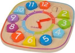 Eichhorn 100003449 Lernuhr mit Steckteilen Uhrzeit Lernen für Kinder, 12 Ziffern-Bauklötze, mit Aufstellhilfe, bunt, aus Holz, 14 teilig, 25 x 25cm groß, ab einem Jahr, 25x25cm