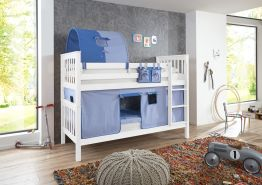 Relita 'Kick' Etagenbett weiß inkl. Textilset Vorhang, 1-er Tunnel und Tasche 'blau/delfin'