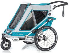 Qeridoo 'Speedkid2' Fahrradanhänger 2020, Petrol, 2-Sitzer