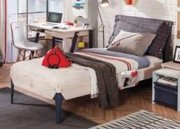 Cilek 'TRIO' Kinderbett 100 x 200 cm White-Wash, mit Matratze