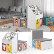 Vicco 'ONIX' Kinderregal, weiß, inkl. Sitzbank, mit 3 Fächern für Bücher und 6 Fächern, inkl. Faltboxen bunt