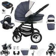 Bebebi Florenz | ISOFIX Basis & Autositz | 4 in 1 Kinderwagen | Luftreifen | Farbe: Neptun Blue Black