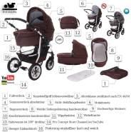 Bebebi Bellami | 2 in 1 Kombi Kinderwagen | Luftreifen | Farbe: Bellachoco