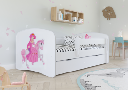 Kinderbett Jugendbett Weiß mit Rausfallschutz Schublade und Lattenrost Kinderbetten für Mädchen und Junge - Prinzessin auf dem Pony 70 x 140 cm