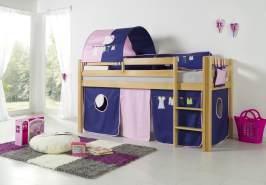 Relita Halbhohes Spielbett ALEX Buche massiv natur lackiert mit Stoffset Kleider