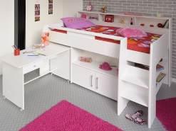 Hochbett, Kinderbett Sway 1B, 211x132x130cm weiß