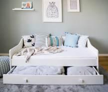Kinderbett + Couch 160x80 mit Rausfallschutz, Lattenrost & Schublade in wei§ 80 x 160 Bett Kinder Sofa