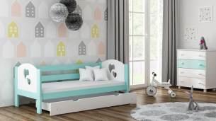 Kinderbettenwelt 'Felicita F3' Kinderbett 80x180 cm, Mint, inkl. Matratze und Rausfallschutz
