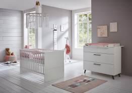 Arthur Berndt 'Amal' Babyzimmer Sparset 2-teilig, Kinderbett (70 x 140 cm) und Wickelkommode mit Wickelaufsatz Kreideweiß