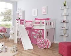 Ticaa 'Ekki' Podestbett Vertikal Buche Weiß, 90 x 200 cm, Vorhang Horse-Pink (Ausführung 1)
