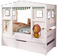 Ticaa 'Safari' Hausbett Mini weiß inkl. Bettkasten 'Marianne'
