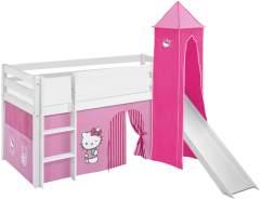 Lilokids 'Jelle' Spielbett 90 x 190 cm, Hello Kitty Rosa, Kiefer massiv, mit Turm, Rutsche und Vorhang