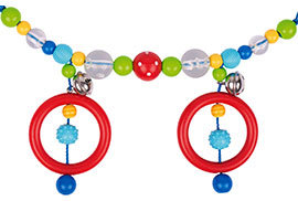 Heimess Kinderwagen Kette mit Clips (rot, Polka Dot Bead)