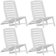 vidaXL Kinder-Strandstühle Klappbar 4 Stk. Weiß Kunststoff