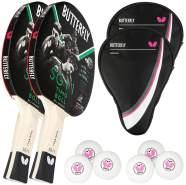 Butterfly 2x Timo Boll SG11 Tischtennisschläger + 2x Tischtennishülle Drive Case + 6x 40+ 3*** Tischtennisbälle