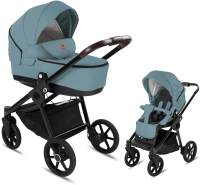 Friedrich Hugo PCS_FH-GROOVE-2IN1-GEL-BTN-09 Minigo Groove, 2 in 1 Kombi Kinderwagen Gelreifen Blue Grey, grau