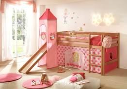 LaNatura 'Peter' Hochbett 90x 200 cm, natur, mit Rutsche, Turm, Vorhang in Prinzessin Rosa/Pink