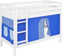 Lilokids 'Jelle' Etagenbett 90 x 190 cm, Blau, Kiefer massiv, mit Vorhang und Lattenroste