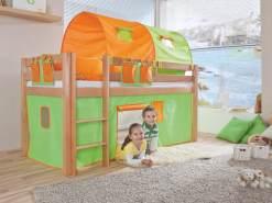 Relita Halbhohes Spielbett ALEX Buche massiv natur lackiert mit Stoffset grün/orange