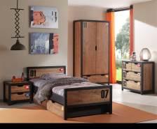 Set Alex best. aus Nachtkonsole, Einzelbett 90x200, Bettschublade, Kleiderschrank 2-trg. und Kommode
