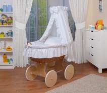 WALDIN Stubenwagen-Set mit Ausstattung Gestell/Räder natur, Ausstattung weiß
