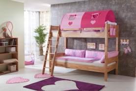 Relita Etagenbett STEFAN Buche massiv natur lackiert, Stabverleimt, geplankte Optik, mit Textilset pink/herz