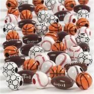 Sportball-Perlen, Größe 11-15 mm, Lochgröße 3-4 mm, sortierte Farben, 45g, ca. 55 Stück