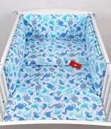 Babylux 'Dino Blau' Kinderbettwäsche 40x60/100x135 cm