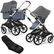 Bugaboo Fox Kinderwagen Grey / Blue mit High Performance Fußsack, inkl. Gestell Alu