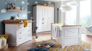 3-tlg. Babyzimmer-Set 'Galio' Kiefer massiv weiß eichefarbig