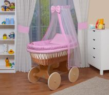 WALDIN Baby Stubenwagen-Set mit Ausstattung, Gestell/Räder natur, Ausstattung rosa kariert
