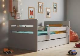 Kinderbett Jugendbett Grau mit Rausfallschutz Schubalde und Lattenrost Kinderbetten für Mädchen und Junge - Tomi 80 x 140 cm