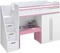 Polini City Hochbett mit Matratze 200x90 Treppe Schrank Tisch weiß rosa