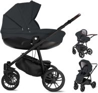 Friedrich Hugo PCS_FH-FLOW-DE-AIR-BTN-10-PIK Minigo Flow, 3 in 1 Kombi Kinderwagen Luftreifen Dark Grey, grau