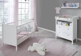 trendteam smart living Babyzimmer 3-teiliges Komplett Set in Weiß mit viel Stauraum und großzügiger Wickelfläche