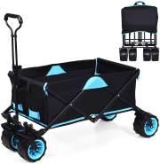COSTWAY Bollerwagen mit Dach Schwarz/Blau