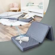 Alcube Reisematratze 70x140 Set mit Matratzenauflage – für ein Baby Reisebett / Gästematratze Inkl. Tasche SCHWARZ