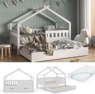 VitaliSpa 'Design' Hausbett 80x160 cm, weiß, Kiefer massiv, inkl. Lattenrost, Matratze und Gästebett