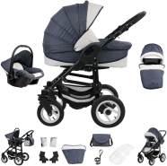 Bebebi Florenz | Luftreifen in Weiß | 3 in 1 Kombi Kinderwagen | Farbe: Neptun Blue Black