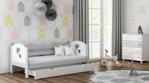 Kinderbettenwelt 'Felicita F3' Kinderbett 80x180 cm, Grau, inkl. Matratze, Schublade und Rausfallschutz
