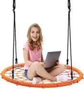 COSTWAY 100cm Nestschaukel Spinnennetz Kinderschaukel, Rundschaukel 100-160cm Seil, Baumschaukel 150kg Tragkraft, Tellerschaukel Haengeschaukel (Orange)