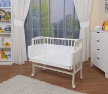 WALDIN Beistellbett mit Matratze, höhenverstellbar, Große Liegefläche, Ausstattung weiß, Gestell Weiß lackiert