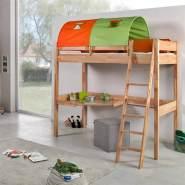 Relita Hochbett GÖTEBORG-13 Buche massiv natur lackiert, mit Schreibtisch und Tunnel grün/orange