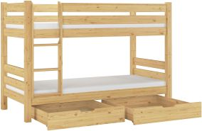 Erst-Holz Etagenbett Kiefer 90x200 cm inkl.Matratze, natur