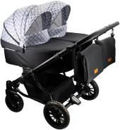 Adbor Duo Lux 3in1 Zwillingskinderwagen mit Babyschalen, Zwillingswagen, Zwillingsbuggy Farbe DL-01 grau Muster