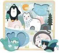 Niedliches Steckpuzzle Polartiere, aus Holz, ab 18 Monaten, Design by Michelle Carlslund für Vilac