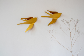 KidsDepot 'Bibi' Wanddekoration, 2 Vögel, 26 x 18 cm, aus Metall, in gold