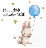 Little Deco 'Hase Blauer Ballon mit Spruch Bis zum Mond' Wandtattoo 54 x 29 cm